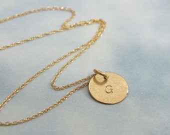 "14k Gold Tiny Initial Necklace, 9mm Solid Gold Initial Necklace, 3/8"" Minimalist Charm Necklace"