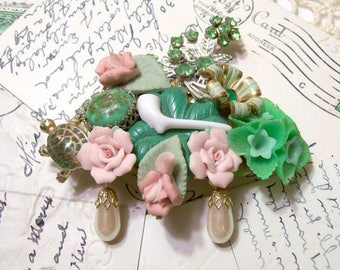 Upcycled St. Patrick's Day Collage Barrette,Recycled Vintage Broken Jewelry,Irish Green Pink Floral Pearls Shamrocks