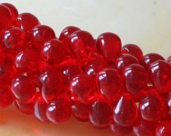 4x6 Red Teardrop Beads  - Czech Glass Beads - Fringe Beads 6x4mm (100 count)