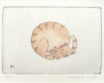 original cat etching and watercolor - taking a break, sleeping ginger cat