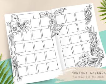 Undated monthly calendar, tropical theme, printable, digital planner insert, month calendar, travel calendar, monthly spread, planner insert
