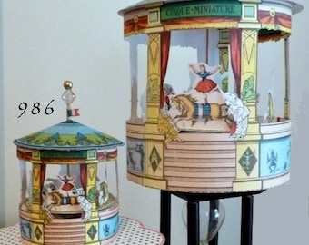 French Circus Carousel Miniature Rotates design Mechanical 986 Small or 987 Large - Made in USA