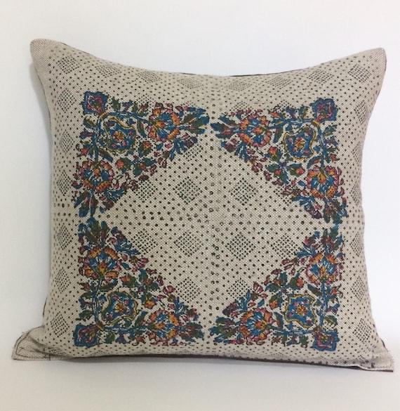 "linen pillow cover| with traditional block printed flower design|decorative cushions|linen pillowcase 16""x16""|linen pillow case"