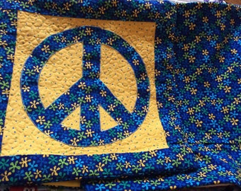 Peace Sign quilted  Pillow Cover