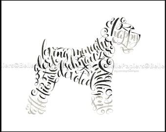 Schnauzer miniature Portrait sympathie perdu animaux Schnauzer Miniature Memorial chien calligraphie chien amoureux amants de chien Schnauzer Mini Decor