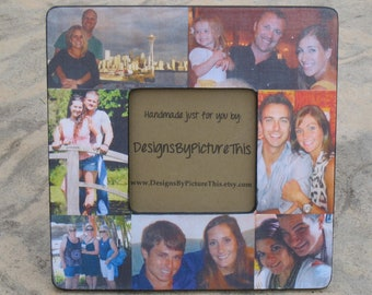 """Collage Picture Frame, Custom Family Photo Collage, Unique Birthday Gift, Personalized Parent's Gift, Unique Christmas Gift, 8"""" x 8"""""""