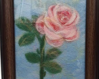 "Wool picture ""Rose"" Wool painting Wool art home decoration Felted flowers Watercolor flowers picture Nace gift for all"