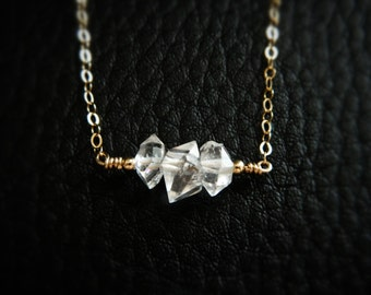 Diamond Necklace, Herkimer Diamond, Crystal Necklace, Herkimer Jewelry, Diamond Pendant Necklace, Diamond Necklaces, Gold Necklace