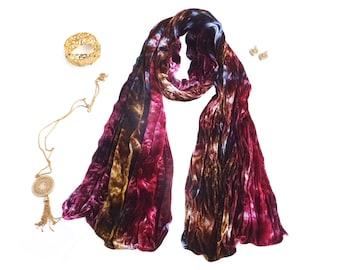 Velvet scarf, trending now, trendy boho scarf, blue velvet, burgundy, scarf for girlfriend, blue boho scarf, gifts for bestfriend, wife gift