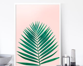 Feminine Palm Print, Printable Leaf Palm, Leaf Print, Pastel Palm Leaf Art, Tropical Leaf Print, Summer digital Art, Palm, Leaves Print