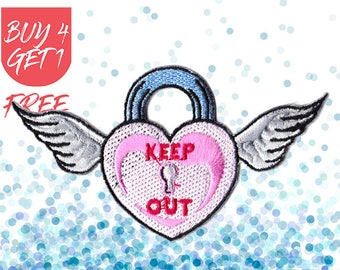 Angel Wings Patches Wings Patches Iron On Patch Embroidered Patch Heart Locket Keep Out