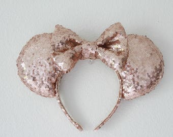 Rose Gold Sequin Minnie Ears