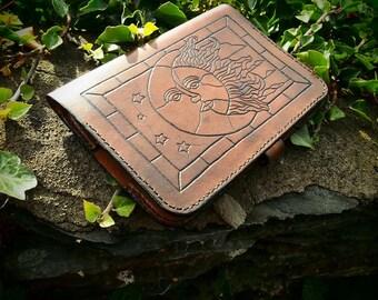 leather kindle case, art nouveau, beautiful handmade kindle case