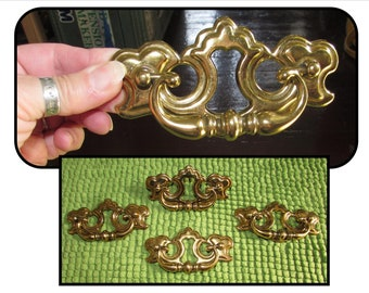 FOUR Reclaimed Vintage Fancy Brass Drawer Pulls by ILCO Unican, Hardware, home improvement, Made in Canada