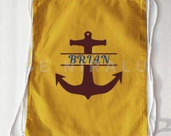 Sailor Bag | Personalized Sailor Bag | Personalized Anchor Bag | Anchor Bag | Custom Beach Bag | Sailor Gift | Pirate Bag | Drawstring Bag