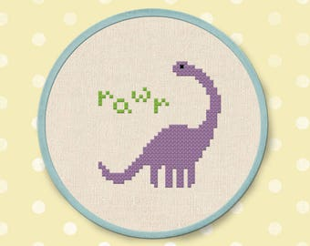 Cute Dino Rawr Cross Stitch Pattern, Dinosaur Cross Stitch, Modern Simple Cute Counted Cross Stitch Pattern PDF File. Instant Download