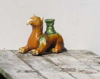 Heavy Colorful Ceramic Asian Lion Vase Oriental Decor