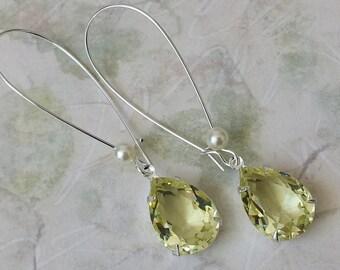 Swarovski Yellow Crystal Earrings Crystal Teardrop Earrings Yellow Rhinestone Silver Drop Earrings Bridesmaids Jewelry Gift Yellow Earrings