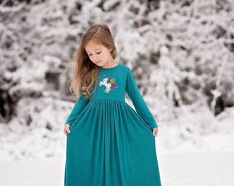 Girls Teal Unicorn Maxi Dress, Girl Unicorn Dress, Girl Long Sleeve Dresses, Girls Long Dress - Sizes 4/5, 6/6X, 7/8, 10/12 Ready to Ship