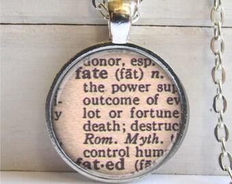 Art Pendant, Fate, Vintage Dictionary Definition, Fate Necklace