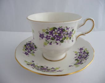 Tea Cup and Saucer Queen Anne Bone China With Purple And Green Flowers