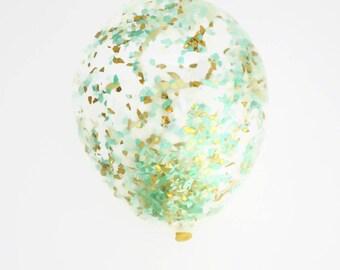 Mint + Mint Green + Gold Confetti Balloon | 11 inch, 16 inch or 18 inch confetti balloon