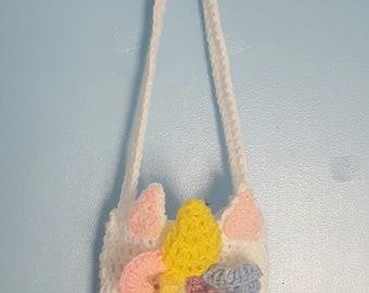 Kids Unicorn Purse Handbag Girls Children's Pink Curls Hair Horn Shoulder Bag Strap Play