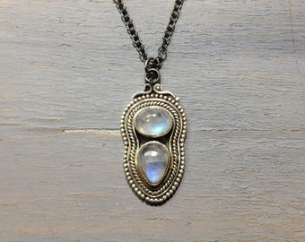 Rainbow moonstone sterling silver necklace, rainbow moonstone jewelry