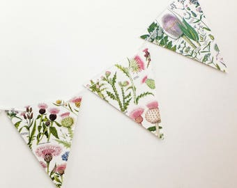 Thistle Garland, botanical bunting, eco-friendly Scottish banner, up-cycled bunting, wedding decorations, Wedding Pennants