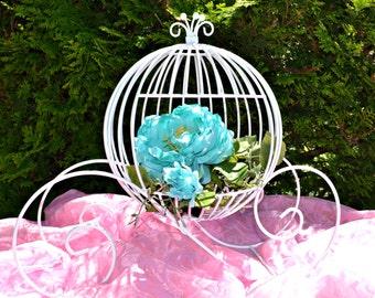 White Cinderella Carriage, Fairytale Wedding Centerpiece, Med Cinderella Bridal Shower Pumpkin Carriage, Sweet 16/Quinceañera Centerpiece