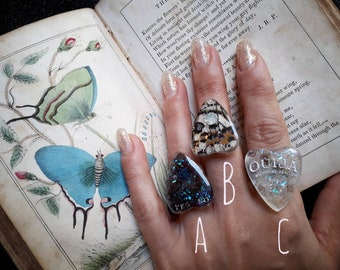 The Spirit Parlour Collection - Real butterfly wing Ouija Planchette ring
