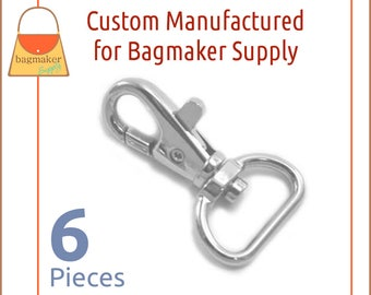 3/4 Inch Trigger Style Snap Hooks Shiny Nickel Finish, 6 Pack Purse Clips, Handbag Purse Bag Making Hardware, SNP-AA139