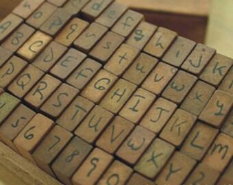 Handwriting Alphabet Stamp Set - Vintage Stamp Set - Wooden Rubber Stamp Set - Alphabet Number Symbol Stamps - 70 pieces - WR002