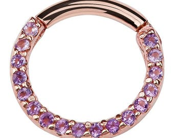 14K Gold Purple Pave CZ Hinged Style Segment Ring Hoop For Cartilage , Septum , Daith - Round