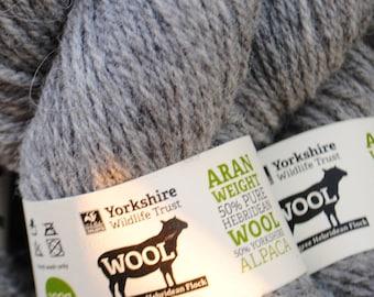 100g Large Hebridean Aran Knitting Wool - Light Grey - 100g skein - Yorkshire Wildlife Trust