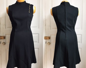 Vintage 1980s / 80s Black Wool Koret of California Dress