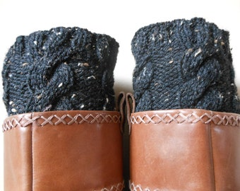 Hand Knitted Boot Cuffs Leg Warmers Black Tweed