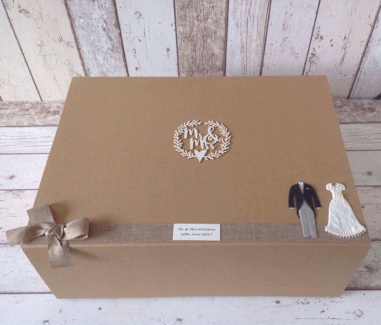 EXTRA LARGE wedding keepsake box, rustic kraft brown/ hessian/burlap ...