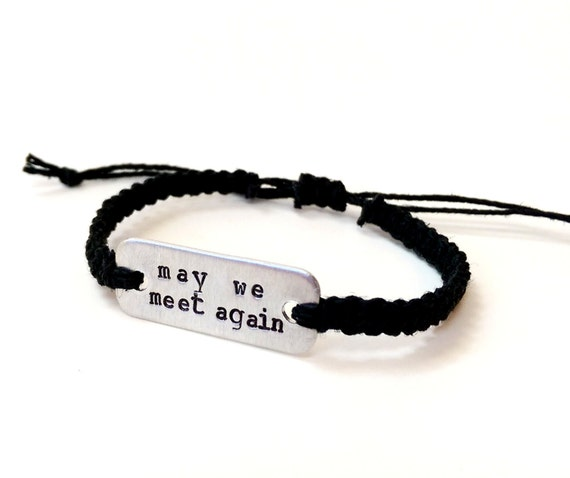 may we meet again The 100 stamped bracelet // adjustable hemp bracelet