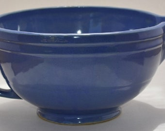 Blue stoneware spouted, vintage,antique, handled batter, mixing bowl 2 rings pitcher