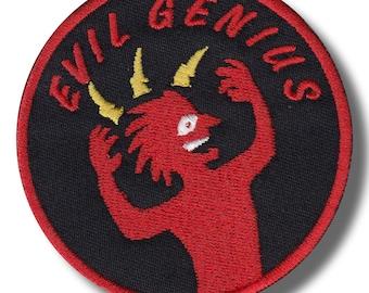 Evil genius - embroidered patch, 8x8 cm