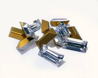 Vintage K.S. & Co. (Swarovski 4501) crystal rhinestones, Art. 109, 'Partieware', baguette,  20x10 mm - 2 pcs - A4