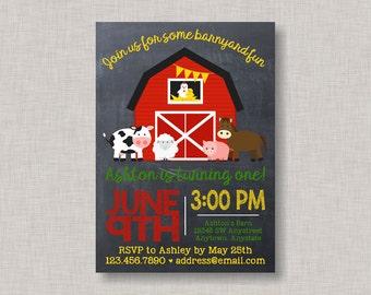Farm Invitation, Farm Birthday Invitation, Barnyard Invitation, Farm Party, Barnyard Bash Invitation, Chalkboard, 1st Birthday, 2nd Birthday