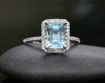 14k White Gold 9x7mm Aquamarine Emerald Cut and Diamonds Wedding or Engagement Ring (Choose color and size options at checkout)