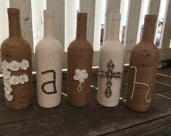 Faith Twine Bottle Decor