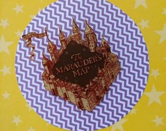 Handpainted Marauders Map Brooch