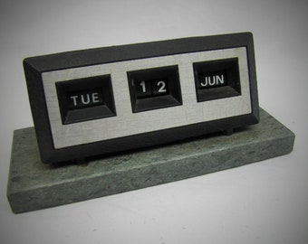 Vintage English Perpetual Desk Calendar Black Plastic and Metal on Stone Base Mid Century Retro Office Desk Furniture