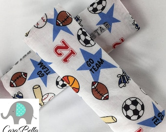 Car Seat Strap Cover, Sports, Neutral, Boy, Girl, Car Seat Strap Pads, Baby Shower Gift