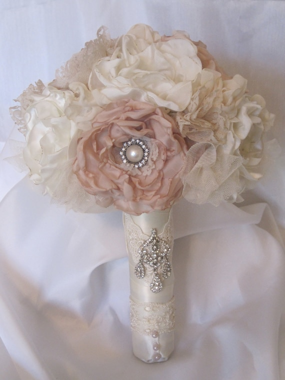 Wedding Bouquet Vintage Inspired Fabric Brooch Bouquet In