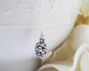 Pine Cone Necklace. Bridesmaid Gift. Bridesmaid Jewelry. Dainty Pinecone Necklace. Silver Jewelry. Mothers Day Gift . Black Friday Special